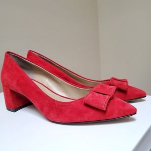 Ann Taylor Jolene Red Suede Bow Pointed Pumps 7